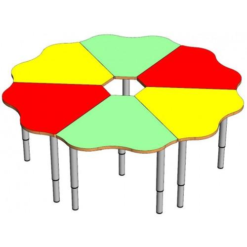 Стол ромашка 6 частей (на регулируемых ножках (0-3гр).